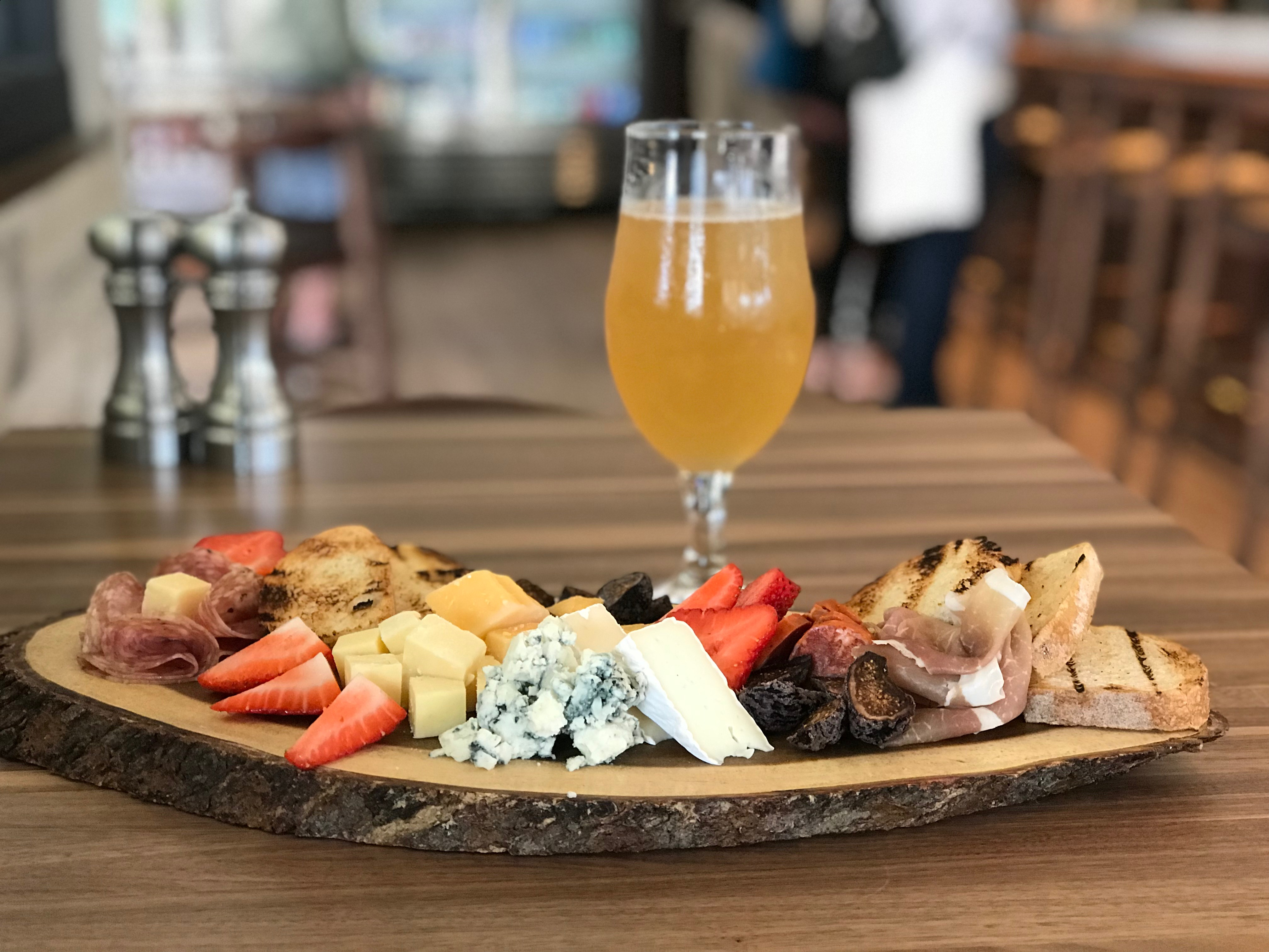 Toyon's charcuterie plate pair perfectly with their on-tap kombucha