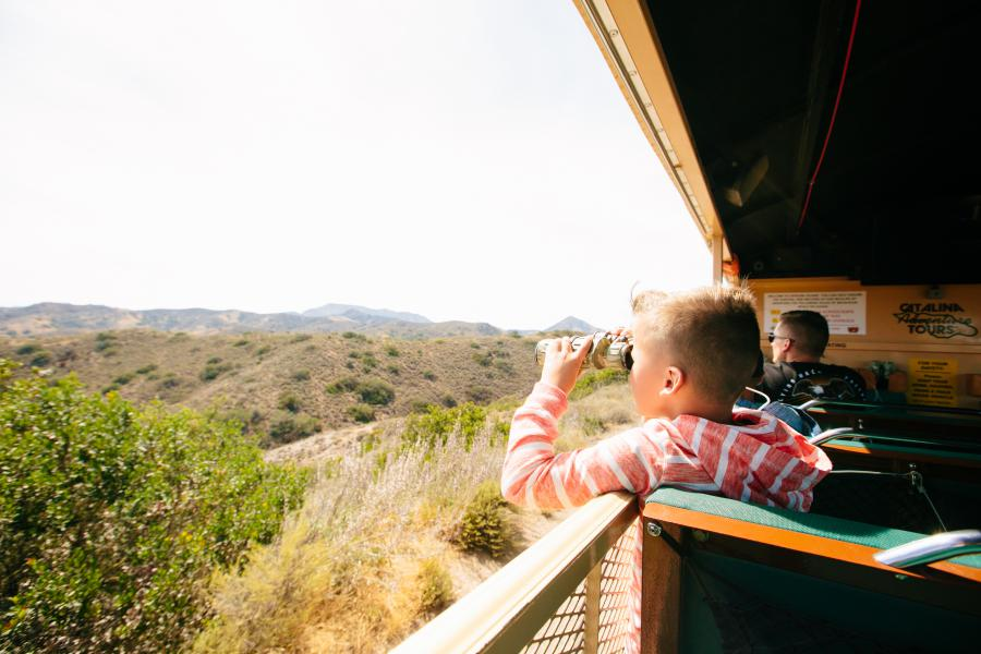 young boy on a safari bus looking out with binoculars