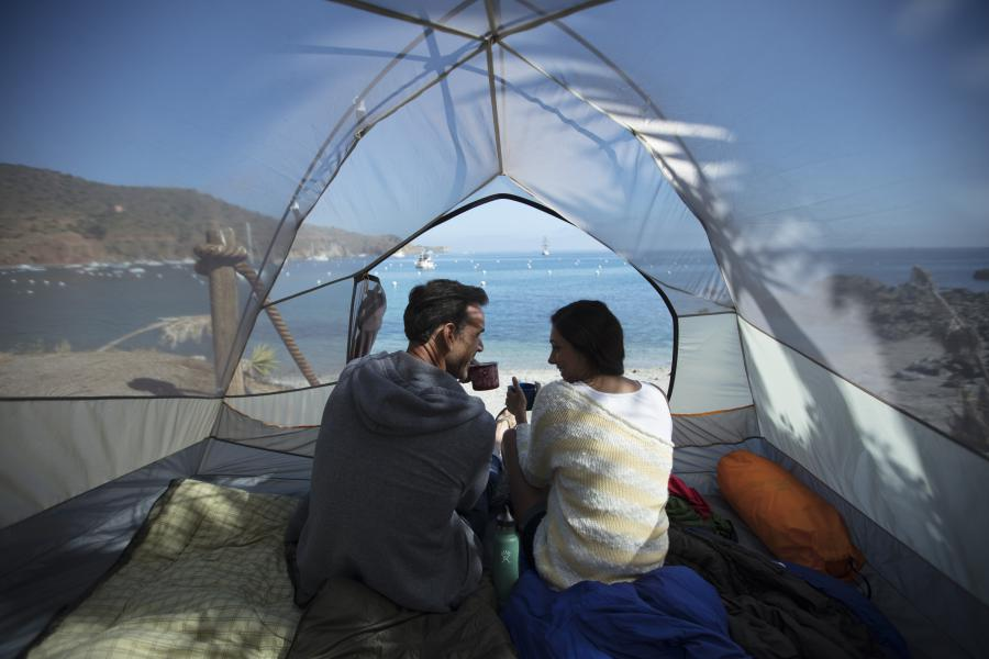 Couple camping at two harbors