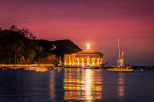 Catalina Island Casino at sunset with holiday decorations