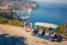 Family enjoy Catalina with their golf cart